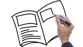 Bemannen Sie das Skizzieren des Buches/der Anmerkungen/Molkerei auf whiteboard Hintergrund stock video footage