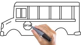 Bemannen Sie das Skizzieren des Busses/des Vans auf whiteboard Hintergrund stock video