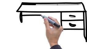 Bemannen Sie das Skizzieren des Schreibtischs/der Tabelle mit Stuhl auf whiteboard Hintergrund stock video