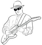 Bemannen Sie das Spielen der elektrischen Gitarre Stockfoto