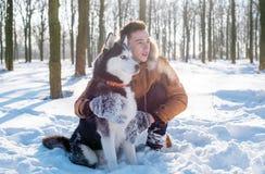 Bemannen Sie das Spielen mit Hund des sibirischen Huskys im schneebedeckten Park stockfoto