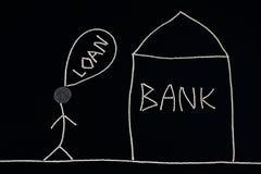Bemannen Sie das Suchen nach der Finanzhilfe und gehen ein Bankkonto zu haben, das Geldkonzept, ungewöhnlich Lizenzfreies Stockbild