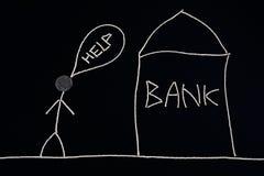 Bemannen Sie das Suchen nach der Finanzhilfe und gehen ein Bankkonto zu haben, das Geldkonzept, ungewöhnlich Stockfotos