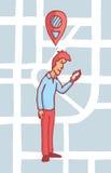 Bemannen Sie das Suchen nach einem Standort auf seinem Handy oder gps Stockfoto