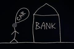 Bemannen Sie das Suchen nach Finanzhilfe von einer Bank, um einen Neuwagen, das Geldkonzept zu kaufen, ungewöhnlich Lizenzfreie Stockfotografie