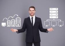 Bemannen Sie das Wählen oder die Entscheidung mit offenen Palmenhandcomputer-Serverikonen Stockbild