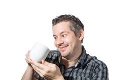 Bemannen Sie dass Lieben sein Kaffee stockfoto