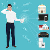 Bemannen Sie den Geschäftsmann, der sich zu Hause schlechte besorgte Couchbuchhaltungs-Bankwechsel-Abteilungs-Papierausgaben des  lizenzfreie abbildung