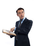 Bemannen Sie den professsor Lehrer, der ein Buch lesend unterrichtet Lizenzfreie Stockfotos
