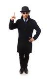 Bemannen Sie den tragenden schwarzen Mantel, der auf dem Weiß lokalisiert wird Stockbilder