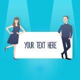 Bemannen Sie die Frauenpaare, die Zeichenfahne halten, der Sie Ihren Text setzen können vektor abbildung