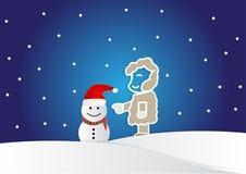 Bemannen Sie die Herstellung eines Schneemannes in der Karikaturart, Weihnachtshintergrund Lizenzfreie Stockbilder