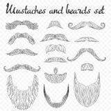Bemannen Sie Haar, Schnurrbart, Bartsammlung auf Alphahintergrund Ausführliche Retro- Mode des Hippies hoch stock abbildung