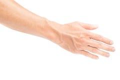 Bemannen Sie hintere Hand mit Blutadern auf weißem Hintergrund, Gesundheitswesen Stockfoto