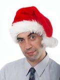 Bemannen Sie im cristmas Hut Lizenzfreie Stockfotos