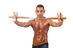 Bemannen Sie im Kampfkunstkonzept Stockfotos