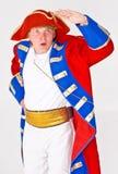 Bemannen Sie im Lieferungs-Kapitän Kostüm Stockfoto