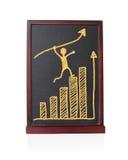 Bemannen Sie laufendes Pfeilwachstum des Gewinns oben mit statistischer Tendenz des Diagramms Stockbilder
