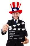 Bemannen Sie mit dem lokalisierten USA-Hut- und -filmbrett Stockfoto