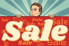 Bemannen Sie mit einer Verkaufsfahne stock abbildung