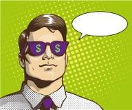 Bemannen Sie mit Sonnenbrilledollarzeichen Vektorillustration in der Retro- Pop-Arten-Art Getrennt auf Weiß Lizenzfreies Stockbild