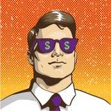 Bemannen Sie mit Sonnenbrilledollarzeichen Vektorillustration in der Retro- Pop-Arten-Art Getrennt auf Weiß Stockfotos