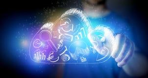Bemannen Sie rührende Hand gezeichnete Geschäftsikonen auf einer Wolke auf einem technolog Lizenzfreie Stockfotos