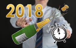 Bemannen Sie rührendes neues Jahr 2018 auf einem Touch Screen Lizenzfreie Stockfotografie