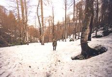 Bemannen Sie Reisenden mit dem Rucksack, der im Schneewald wandert Stockfoto