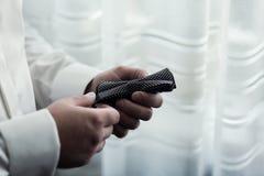 Bemannen Sie Schmetterlingskleidung, den Geschäftsmann, der auf Fliege sich setzt Klage, Han Lizenzfreie Stockfotografie