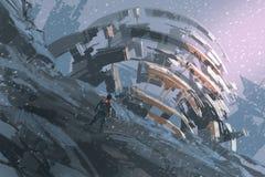 Bemannen Sie Stellung auf dem Hügel, der die abstrakte Architektur aufpasst vektor abbildung