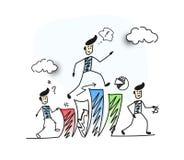 Bemannen Sie Treppe oben klettern und das Denken des Finanzerfolgssymbols, Ca Lizenzfreies Stockbild