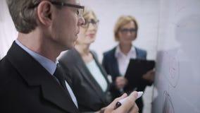 Bemannen Sie unterrichtende Damen Büroangestellte, um den Markt, Geistesblitz, Teamwork zu überwachen stock video footage