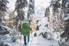 Bemannen Sie Wanderer mit dem Rucksack, der in schneebedeckten Wald des Winters reist Lizenzfreie Stockfotografie
