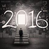 Bemannen Sie zur Tür mit Nr. 2016 vorwärts gehen Lizenzfreie Stockfotos
