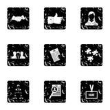 Bemannend geplaatste agentschappictogrammen, grunge stijl Royalty-vrije Stock Fotografie