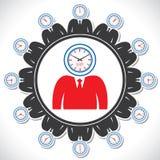 Bemannt das Gesicht, das verschiedene Ansichten einer Borduhr zeigt Stockbild