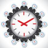 Bemannt das Gesicht, das verschiedene Zahlen einer Borduhr zeigt Stockfotografie