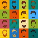 Bemannt das Haar, das von den Bärten und vom Schnurrbartvektor gelegt wird Hippie-Artmodebärte und Haarillustration völker Lizenzfreie Stockfotos