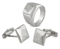 Bemannt die Schmucksachen, die mit Diamanten eingestellt werden stock abbildung