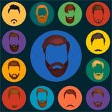 Bemant haarreeks van baarden en snorrenvector De manierbaarden van de Hipsterstijl en haarillustratie volkeren Royalty-vrije Stock Afbeeldingen