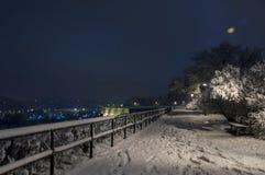 Bemch和灯在与雪的夜 免版税库存照片