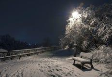 Bemch en lamp in nacht met sneeuw Stock Foto's