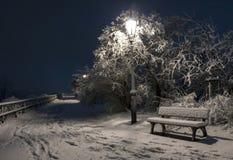 Bemch en lamp in nacht met sneeuw Stock Afbeeldingen