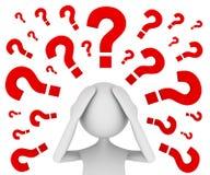 Bemüht mit Fragen Stockbild