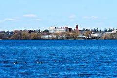 Bemidji, Minnesota across Lake Irving. On sunny day with ducks in foreground stock image