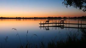 Bemidji, Minnesota across Lake Irving after sunset. Bemidji, Minnesota, the Best Town in Minnesota is seen across Lake Irving, the first lake on the Mississippi stock photos