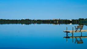 Bemidji, Minnesota across Lake Irving on a sunny day. Bemidji, Minnesota, the 2018 Best Town in Minnesota is seen across Lake Irving, the first lake on the royalty free stock image