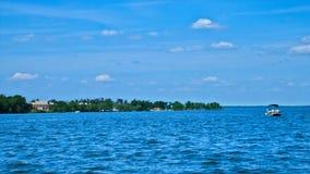 Bemidji, Minnesota - Diamond Point from a boat on Lake Bemidji. On a sunny day royalty free stock photos