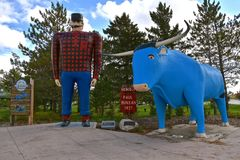 Babe the Blue Ox and Paul Bunyan royalty free stock photo